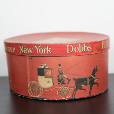 Vintage Dobbs Fifth Avenue Red Hat Box New York Vtg Rare Retro