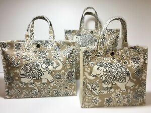 Nikki's Original Totes Handmade 100% Cotton Oilcloth Bags Indira Elephant Canvas