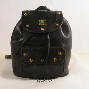 MCM Black Leather Backpack Authenticity + Dust Bag