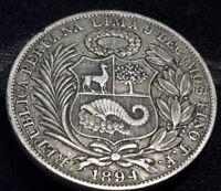 1894 TF Peru 1 Sol Silver . KM# 196.26 original patina