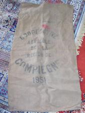 1951 Coopérative agricole Compiegne ANCIEN SAC en TOILE de jute BAG linen FARMER