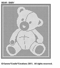 BEAR - BABY FILET CROCHET Pattern