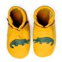 pantau.eu Baby Leder Lauflernschuhe Krabbelschuhe Puschen mit Dino Krokodil Bär