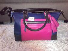 Coach Legacy Molly Navy Blue Pink Leather Satchel Shoulder Bag Purse
