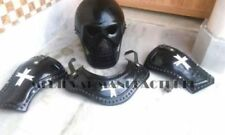 Medieval Steel Mask W/ Gorget & Pauldrons Templar Knight Reenactment Reproduct