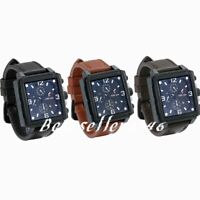 Large Square Dial Men's Heavy Date Analog Quartz Sports Leather Wrist Watches
