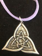 "CELTIC TRIANGLE DR55 Made From Fine English Pewter On 18"" Purple Cord Necklace"