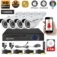 Eyedea 3500TVL 8CH 1080N DVR Outdoor Night Vision CCTV Security Camera System 1T