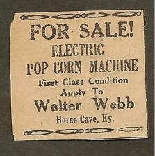 VINTAGE AD CLIPPED FROM NEWSPAPER -ELECTRIC POP CORN MACHINE 1939