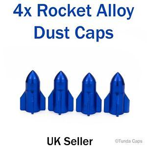 4x Blue Rockets Dust Caps Car BMX Bike Motorbike  Tyre Valve Wheel Metal