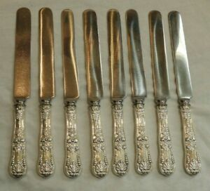 Eight (8) Antique Tiffany & Co English King Sterling Sterling Knives 9""