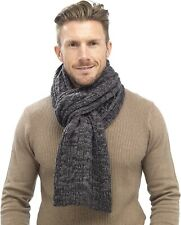Mens Adult Winter Scarf Grey Chunky Cable Knit Knitted Neck Scarves 191 x 26cm