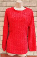 RED GLITTER KNIT KNITTED JUMPER LONG SLEEVE PARTY XMAS BLOUSE T SHIRT TOP 16 18