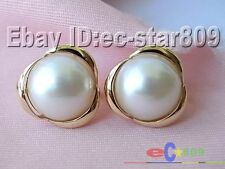 p795 HUGE REAL 20MM WHITE SOUTH SEA MABE PEARL EARRING sterling silver