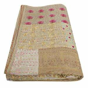 Kantha Quilt Block Print Blanket Cotton Bedspread Patchwork  Twin Size Beige