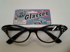 50's Black Rhinestone Glasses 1950's Sock Hop Horn Rimmed Cat Eye Clear Lenses