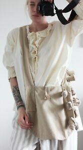 Ewa I Walla 100% Cotton Beige Lagenlook Crossbody Bag One Size