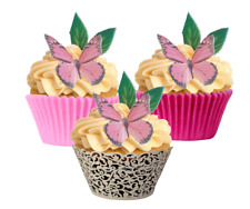 6 Pink Butterfly and Leaf Set Edible Cupcake Decorations Toppers DIY Cut @ Home