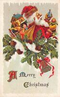 Christmas Postcard Santa Claus Bag of Toys Pine Tree Branch House Doll~125595