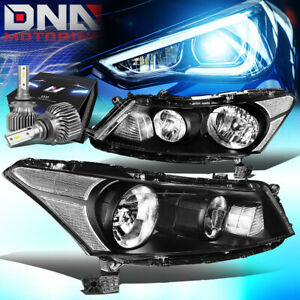 FOR 2008-2012 HONDA ACCORD 4-DOOR SEDAN HEADLIGHT W/LED KIT SLIM STYLE BLACK