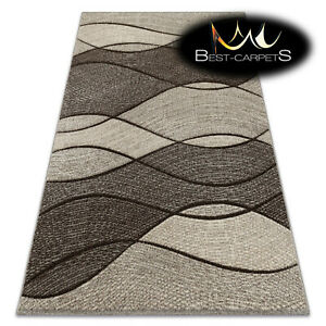 Thick Quality 20mm Modern Design Densely Soft Rugs FEEL Waves Brown Beige