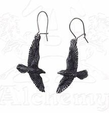 Odin Black Raven Gothic Earrings Pair Flying Ravens Crows on Hooks E333 Alchemy