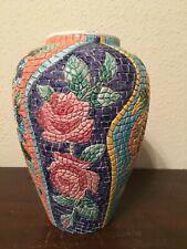 "Vietri Mosaic Floral Large Vase 11"" Centerpiece 1993 Italy"