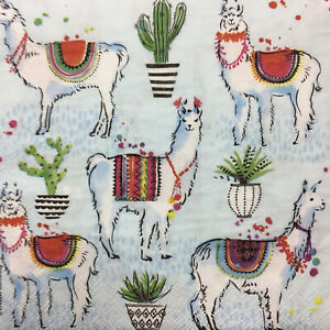 Pack of 16 Paper Party Napkins Llama Fiesta Toss Luxury Napkins