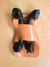 Vintage 1950's small black toy telephone handset cradle lot of 2 in holder
