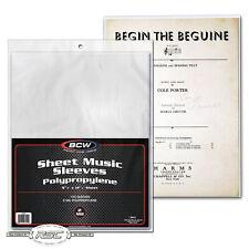 BCW Sheet Music Sleeves 2 Mil Polypropylene 9 3/8 X 12 1/4 100 Count Gift