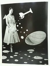 Vtg 1950's photo Woman Party Dress Celebration MCM Atomic Saucer/ Scoop Chair