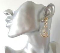 Gorgeous 5.5cm long gold tone chain & crystal flower hoop DROP earrings