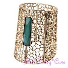 Vintage Green & Gold Plt Cutwork Egyptian Pharaoh Cleopatra Bracelet Bangle Cuff