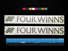 "2 (TWO)   FOUR WINNS  Boats Marine HQ Decals 12"" - Silver Metallic + more"