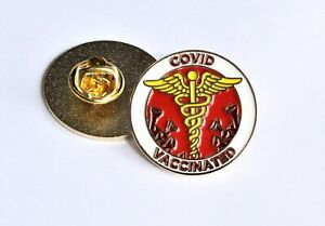 "VACCINATED 1"" Round Lapel Pin - Free Shipping for 2 or more"