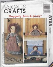 McCalls Sewing Pattern 8708 Craft Raggedy Ann & Andy Draftbusters & Doorstop