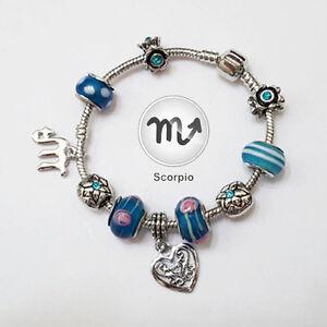 SCORPIO Zodiac Silver Blue Murano Teal Rhinestone Heart Charm Bracelet