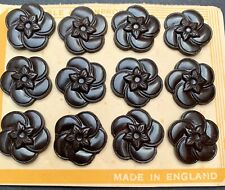 1940s Made in England 1.7cm Rich Brown Bakelite Flower Buttons
