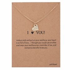"""Womens Fashion Jewelry """"I Love You"""" Heart Gold Pendant Necklace 11-2"""