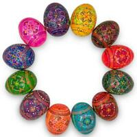 Set of 12 Hand Painted Wooden Pysanky Ukrainian Easter Eggs 2.5 Inches