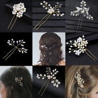 Crystal Gold Prom  Bridesmaid Tiara Pearl Hair Pin  Hairpins Bridal Clips