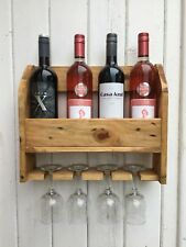 Wine bottle and wine glass holder wall mounted reclaimed timber handmade