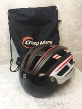 Crazy Mars Bike Helmet M/L 57-62cm  Red White Black with LED Rear Light & Visor