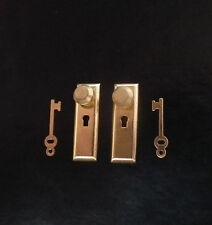 1/12, Dolls House Miniature Brass Handles & keys Set Door Knobs Fittings  LGW