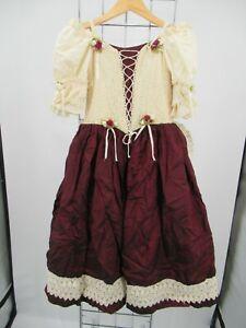 H1674 VTG Women's Off Shoulder Rose Lace Up Renaissance Dress Size 6