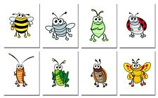 New ListingCute Bugs 8 (8x10) Art Prints Bedroom Playroom Nursery Boys Girls Room Decor