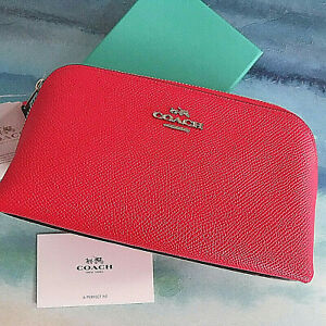 COACH Small Hot Pink Leather Cosmetic Case NWT