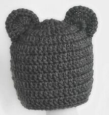 BOYS GIRLS CHUNKY TEDDY BEAR BEANIE HAT EARS baby crochet photo prop dark grey