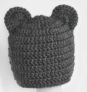 BABY BOYS GIRLS HAT CHUNKY TEDDY BEAR BEANIE WITH EARS crochet photo prop dKgrey