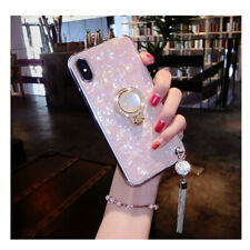 For Samsung Note20 10 S20 S21 S9 8 Girl's Diamond Marble Shell Pattern Ring Case